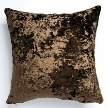 """QUALITY HAZELNUT BROWN THICK DEEP CRUSHED VELVET 17"""" CUSHION COVER £8.99 UK MADE"""