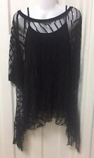 LAGENLOOK  - BLACK CHIFFON TWO PIECE - TUNIC TOP - FIT SIZES 16 18 20