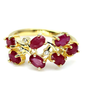 NATURAL RED RUBY & WHITE CZ 925 STERLING SILVER RING SZ 6.75