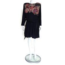 CAROLE LITTLE Vintage floral 90s Black Drop Waist Shoulder Pad Womens Dress sz 8