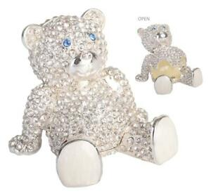 CRYSTAL SILVER TEDDY BEAR TRINKET BOX jewellery Christening wedding ring Gifts