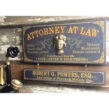 Attorney At Law Wood Plank Sign with Personalized Nameboard