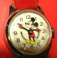 Vintage Mickey Mouse Wristwatch With Red Band Swiss Made Walt Disney Productions