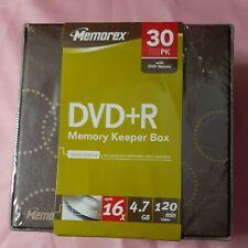 Memorex DVD-R 16X 4.7GB in Memory Keeper Box w/Sleeves * 30Pk * SEALED