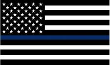 "1 - 5"" Thin BLUE Line Black White American Flag Decal Police Law Sticker RH"