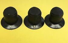 (3) Vintage Antique Radio, Equipment Knobs, Black, Used, Nice!