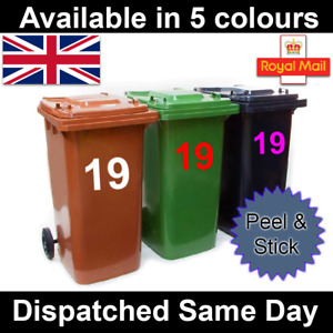 3 x Wheelie Bin House Numbers Stickers Wheely Dustbin Sticker Vinyl Peel&Stick