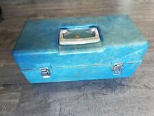 Vintage Rare Fiberglass Fishing Tackle Box Blue With Key