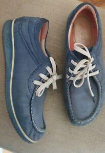 ECCO LADIES SHOES SZ 7 UK 40 Suede Leather Blue Lace Up