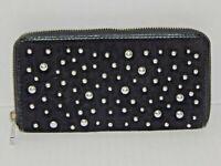 Black Studded Zip-Around Clutch Velvet Designer Wallet - JUICY COUTURE - NEW