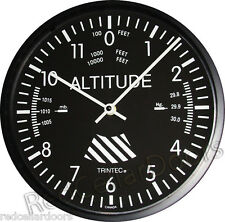 "New TRINTEC ALTIMETER ALTITUDE Wall Clock 10"" Aviator Cockpit Instrument"