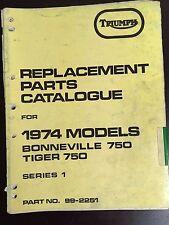 Triumph 1974 Bonneville 750 Tiger 750 Series 1 Parts Catalogue