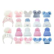 Baby Cable Hat Double Bobble Beanie Knitted Warm Boy Girl Newborn-6 Months Cap
