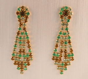 Boucles d'oreilles CLIPS—Métal doré —Strass—Vert, jaune et ocre—Vintage
