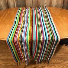 Rainbow Crochet Throw Blanket Fringe Edge