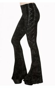 Banned Flared Gothic Black Leggings Trousers Velvet Corset Lace Punk Small NEW