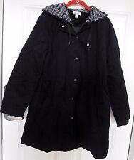NWOT Women's Denim & Co. Zip Front Parka w/Pattern Hood Detail - Black - M