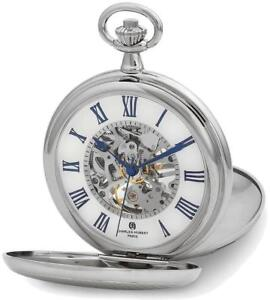 Charles Hubert Double Cover Striped w/ Shield Pocket Watch