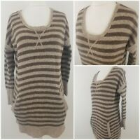 Wrap Womens Long Length Striped Jumper Knitted Lambswool Top Brown Size 14