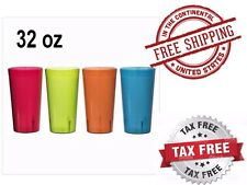 RAINBOW 12 PK Clear Break Resistant Drinking Cups Glasses 32 OZ PLASTIC TUMBLERS