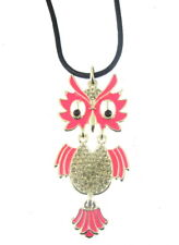 extra long owl pendant enamel and diamantie corded necklace   (kx)