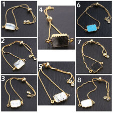 Gold Plated Adjustable Chain Bracelet Natural Turquoise White Howlite Moss Agate