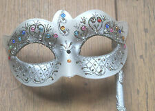 SILVER CRYSTAL JEWELLED RIALTO VENETIAN MASQUERADE EYE MASK ON STICK HAND HELD
