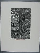 Original Wesley Bates Wood Engraving, The Dispossessed indian