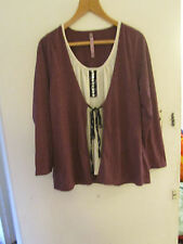 Evans Purple & Cream Integrated Top in Size 20