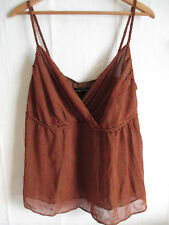LANE BRYANT womens cami top blouse size 14 L brown v-neck empire waist braided