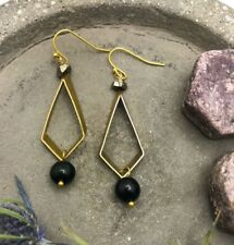 Lily Dangles ~ Raw Pyrite Dark Green Jasper Gold Plated Hook Kite Brass Earrings