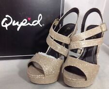 b65e1793b160 NEW QUPID High Heels Shoes Size 7 Gold Glitter Open Toe Ankle Strap Platform