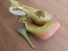 Spot On Size 5 Patent Mix Peep Toe With Ankle Strap Platform Shoes. New.