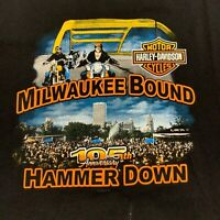 Harley Davidson Milwaukee WI Short Sleeve Black T-Shirt Mens 2XL 105th EUC