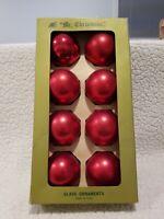 "Vtg Christmas Ornaments Glass Satin Sheen Red Matte  2.75"" Ball Lot Of 8"