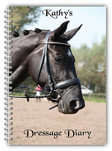 A5 PERSONALISED EQUINE HORSE & RIDER DRESSAGE COMPETITION LOGBOOK DIARY 50 PAGES