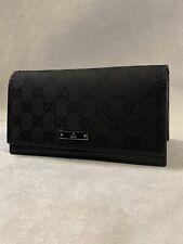 Gucci Black Double Flap W Black GG  Canvas & Leather W/Plaque Wallet