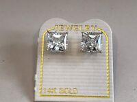 14K SOLID YELLOW GOLD STUD EARRINGS W/ 3 CT LAB DIAMONDS PRINCESS CUT/STUNNING!!