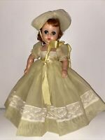 """1950s Madame Alexander 11"""" Lissy Doll Hard To Find Yellow Bridesmaid Dress & Hat"""