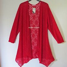 MAGNA tolle Zipfel Long Jacke Cardigan Lagenlook Stretch-Spitze rot 48-50(4)
