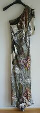 Women Ladies Long Dress Silk Size 8 Colourful one sleeve