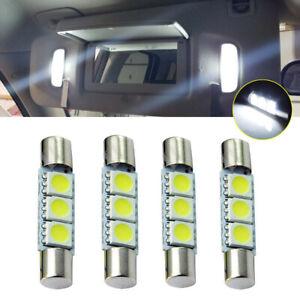 4x White HID 3SMD 31mm 6641 Fuse LED Bulb Car Vanity Mirror Light Sun Visor Lamp
