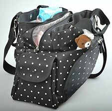 Allis Holiday Baby Changing Bag Nappy Tote Large Black 3-piece