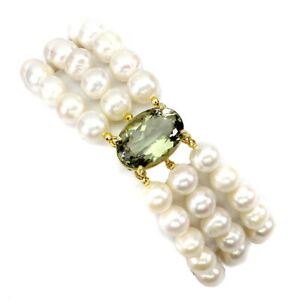 Oval Green Amethyst 18x13mm Pearl 925 Sterling Silver Bracelet 8.5 Inches