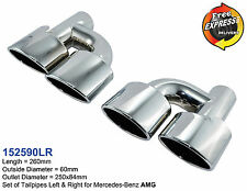 Exhaust tips quad Tailpipe dual Set S/S 304 Chrome Plated for Mercedes Benz AMG