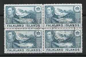 Falkland Islands George VI SG158a block of 4 used verified MNH
