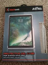 "Black Web Protective Gel Case 12.9"" IPAD Pro Apple Pencil Holder Tablet Computer"