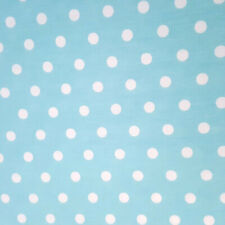 """100% COTTON SMALL WHITE POLKA DOT ON AQUA TURQUOISE FABRIC 44"""" BY THE YARD"""