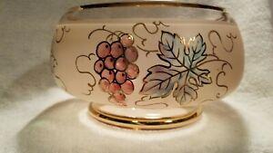 glass serving bowl gold trim, painted grape vines, purple grapes, green leaves