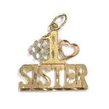 14 Karat Yellow Gold Number One #1 Sister Diamond Cut Charm Pendant P504
